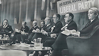 1968 FILE PHOTO - ARCHIVES <br /> <br /> Liberal Line-Up of contenders for party leadership sat on platform last night at the Ontario Liberal convention; each waiting to tell delegates why he should head federal party. From left: Health Minister Allan MacEachen; Eric Kierans; former president of Quebec Liberal Federation; Transport Minister Paul Hellyer; Elliot Lake miner Lionel Laframboise; Finance Minister Mitchell Sharp; Manitoba clergyman Lloyd Henderson; External Affairs Minister Paul Martin; Agriculture Minister J. J. Greene. Consumer Affairs Minister John Turner arrived late<br /> <br /> 1968<br /> <br /> PHOTO :  Doug Griffin - Toronto Star Archives - AQP
