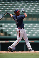 GCL Braves Christian Zamora (51) bats during a Gulf Coast League game against the GCL Orioles on August 5, 2019 at Ed Smith Stadium in Sarasota, Florida.  GCL Orioles defeated the GCL Braves 4-3 in the second game of a doubleheader.  (Mike Janes/Four Seam Images)