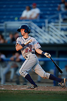 Mahoning Valley Scrappers shortstop Ernie Clement (24) follows through on a swing during a game against the Batavia Muckdogs on August 16, 2017 at Dwyer Stadium in Batavia, New York.  Batavia defeated Mahoning Valley 10-6.  (Mike Janes/Four Seam Images)