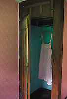 Woman's pink nightgown hanging in green closet<br />