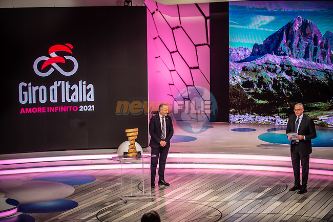 Cordiano Dagnoni, President of the Italian Cycling Federation, and Antonello Orlando at the presentation of the 2021 Giro d'Italia Route in the Rai Studios in Corso Sempione, Milan, Italy. 23rd February 2021.  <br /> Picture: LaPresse/Claudio Furlan   Cyclefile<br /> <br /> All photos usage must carry mandatory copyright credit (© Cyclefile   LaPresse/Claudio Furlan)