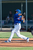AZL Cubs 1 left fielder Dalton Hurd (30) follows through on his swing during an Arizona League game against the AZL Indians 1 at Sloan Park on August 27, 2018 in Mesa, Arizona. The AZL Cubs 1 defeated the AZL Indians 1 by a score of 3-2. (Zachary Lucy/Four Seam Images)
