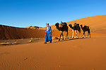 Morocco, Meknes-Tafilalet, Merzouga: Erg Chebbi, large dunes formed by wind-blown sand, with Moroccan man in traditional dress and camel | Marokko, Meknes-Tafilalet, Merzouga: Erg Chebbi, durch Verwehungen entstandene Duenen, und Einheimischer in traditioneller Kleidung mit Kamel