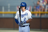 Eric Cole (2) of the Burlington Royals prepares to step up to the plate during the game against the Johnson City Cardinals at Burlington Athletic Stadium on July 15, 2018 in Burlington, North Carolina. The Cardinals defeated the Royals 7-6.  (Brian Westerholt/Four Seam Images)