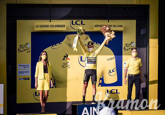 yellow jersey / GC leader Primoz Roglic (SVK/Jumbo-Visma) on the podium<br /> <br /> Stage 15 Lyon to Grand Colombier (175km)<br /> <br /> 107th Tour de France 2020 (2.UWT)<br /> (the 'postponed edition' held in september)<br /> <br /> ©kramon