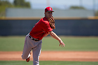 Los Angeles Angels relief pitcher Marc Brakeman (81) follows through on his delivery during an Extended Spring Training game against the Chicago Cubs at Sloan Park on April 14, 2018 in Mesa, Arizona. (Zachary Lucy/Four Seam Images)