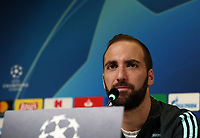 Juventus' Gonzalo Higuain speaks during a press conference on November 25, 2019 at the Juventus Allianz stadium in Turin, on the eve of the UEFA Champions League Group D football match Juventus vs Atletico Madrid.<br /> UPDATE IMAGES PRESS/Isabella Bonotto