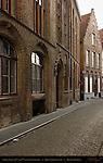Street Scene: 14th and 17th century Buildings, Grauwwerkersstraat, Bruges, Brugge, Belgium