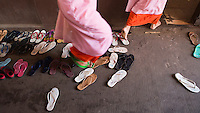 nuns and sandals in a nunnery, Yangon, Myanmar
