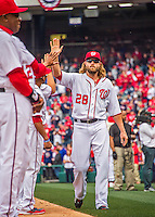 7 April 2016: Washington Nationals outfielder Jayson Werth greets teammates as he is introduced on the field prior to the Nationals' Home Opening Game against the Miami Marlins at Nationals Park in Washington, DC. The Marlins defeated the Nationals 6-4 in their first meeting of the 2016 MLB season. Mandatory Credit: Ed Wolfstein Photo *** RAW (NEF) Image File Available ***