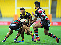 Vince Aso is tackled during the Mitre 10 Cup rugby match between Wellington Lions and Counties Manukau Steelers at Westpac Stadium in Wellington, New Zealand on Wednesday, 29 August 2019. Photo: Dave Lintott / lintottphoto.co.nz