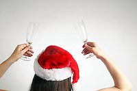Christmas-woman back holding champagne glasses