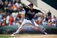 Atlanta Braves starting pitcher Max Fried (54) delivers a pitch during a Grapefruit League Spring Training game against the Detroit Tigers on March 2, 2019 at Publix Field at Joker Marchant Stadium in Lakeland, Florida.  Tigers defeated the Braves 7-4.  (Mike Janes/Four Seam Images)