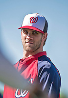 16 March 2014: Washington Nationals outfielder Bryce Harper awaits his turn in the batting cage prior to a Spring Training Game against the Detroit Tigers at Space Coast Stadium in Viera, Florida. The Tigers edged out the Nationals 2-1 in Grapefruit League play. Mandatory Credit: Ed Wolfstein Photo *** RAW (NEF) Image File Available ***