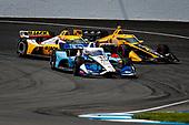 #15: Graham Rahal, Rahal Letterman Lanigan Racing Honda, #45: Spencer Pigot, Citrone Buhl Autosport with RLL Honda, and #26: Zach Veach, Andretti Autosport Honda