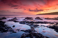 Sunset and tidepools. Lanai, Hawaii