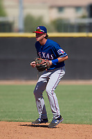 Texas Rangers second baseman Myles McKisic (25) during an Instructional League game against the San Diego Padres on September 20, 2017 at Peoria Sports Complex in Peoria, Arizona. (Zachary Lucy/Four Seam Images)
