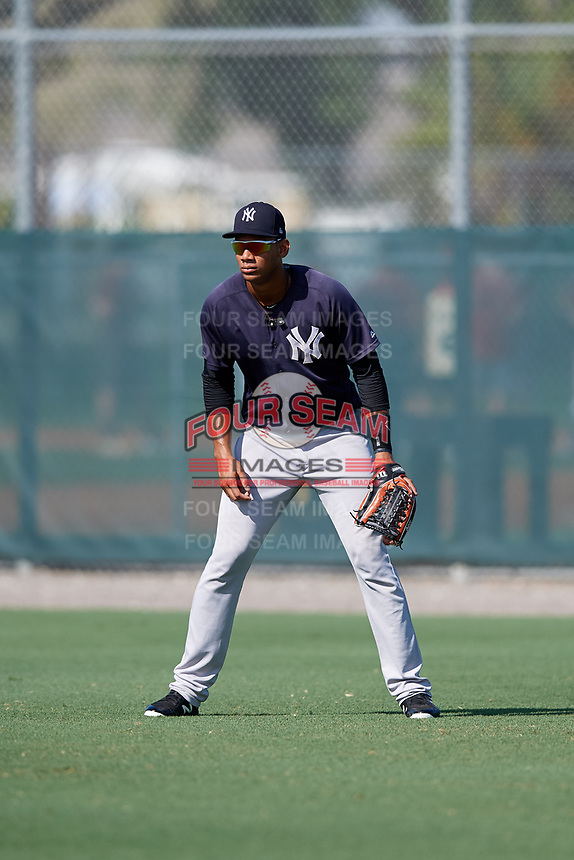 GCL Yankees West right fielder Anthony Garcia (37) during a game against the GCL Pirates on August 2, 2018 at Pirate City Complex in Bradenton, Florida.  GCL Pirates defeated GCL Yankees West 6-2.  (Mike Janes/Four Seam Images)
