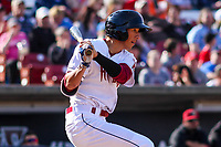 Wisconsin Timber Rattlers outfielder Ryan Aguilar (21) swings during a Midwest League game against the Quad Cities River Bandits on April 8, 2017 at Fox Cities Stadium in Appleton, Wisconsin.  Wisconsin defeated Quad Cities 3-2. (Brad Krause/Four Seam Images)