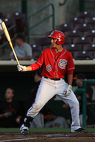 Taylor Lindsey #8 of the Inland Empire 66'ers bats against the San Jose Giants at San Manuel Stadium on June 11, 2012 in San Bernardino,California.Inland Empire defeated San Jose 12-8.(Larry Goren/Four Seam Images)