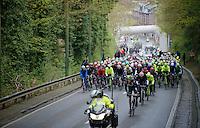 """peloton rolling out of Liège and 'let loose' at the """"depart réel""""<br /> <br /> 102nd Liège-Bastogne-Liège 2016"""