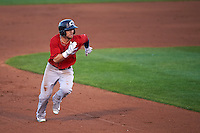 Columbus Clippers center fielder Collin Cowgill (7) running the bases during a game against the Rochester Red Wings on June 14, 2016 at Frontier Field in Rochester, New York.  Rochester defeated Columbus 1-0.  (Mike Janes/Four Seam Images)