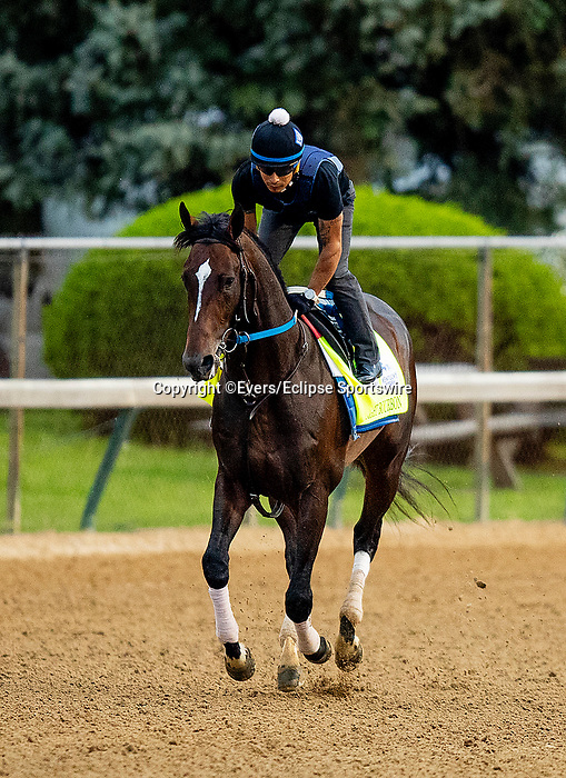 April 28, 2021: Midnight Bourbon gallops in preparation for the Kentucky Derby at Churchill Downs in Louisville, Kentucky on April 28, 2021. EversEclipse Sportswire/CSM