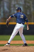 Queens Royals relief pitcher Zach Kelly (10) in action against the Catawba Indians during game one of a double-header at Tuckaseegee Dream Fields on March 26, 2021 in Kannapolis, North Carolina. (Brian Westerholt/Four Seam Images)