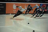 SPEEDSKATING: DORDRECHT: 05-03-2021, ISU World Short Track Speedskating Championships, Heats 500m Men, Shaolin Sandor Liu (HUN), Tristan Navarro (FRA), ©photo Martin de Jong