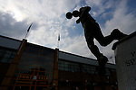Port Vale 3 Doncaster Rovers 0, 22/08/2015. League One, Vale Park. the statue of Phil Sproson, who made 495 appearences for Port Vale between 1977-1989. Photo by Paul Thompson.