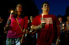 September 11, 2011; Notre Dame students hold their candles before the candlelight procession to the Grotto at the close of the remembrance mass for the 911 attack victims at the University of Notre Dame. Photo by Barbara Johnston/University of Notre Dame
