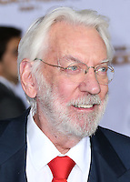 LOS ANGELES, CA, USA - NOVEMBER 17: Donald Sutherland arrives at the Los Angeles Premiere Of Lionsgate's 'The Hunger Games: Mockingjay, Part 1' held at Nokia Theatre L.A. Live on November 17, 2014 in Los Angeles, California, United States. (Photo by Xavier Collin/Celebrity Monitor)