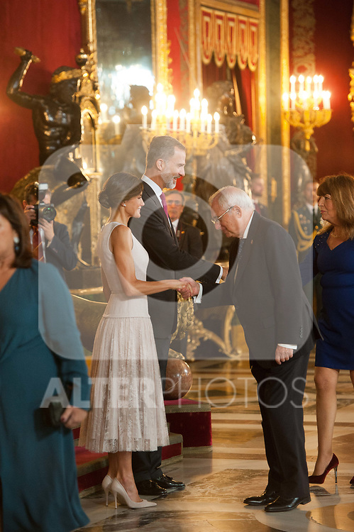Queen Letizia of Spain, King Felipe VI of Spain and Josep Borrel attends to Sapnish National Day palace reception at the Royal Palace in Madrid, Spain. October 12, 2018. (ALTERPHOTOS/A. Perez Meca)