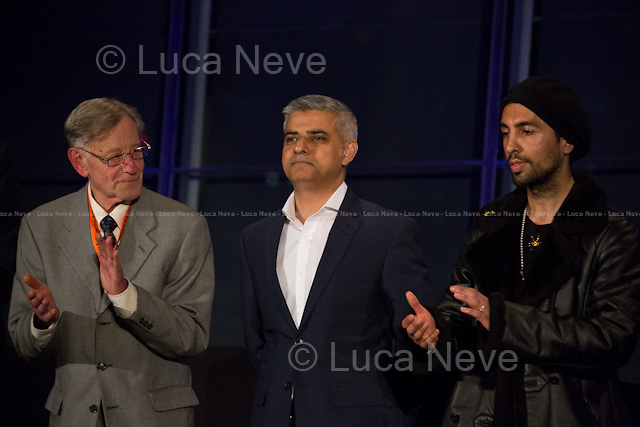 """(From L to R) Lee Harris, Sadiq Khan MP (New Mayor of London) & Ankit Love.<br /> <br /> London, 06-07/05/2016. The morning after the London Mayoral Election, press began to congregate on the ninth floor of City Hall to report on the results and the official announcement of the new Mayor of London. At 15:21, the press team of City Hall announced the results by constituency. At just gone 17:30, the press videographers and photographers were escorted downstairs to the Chamber (second floor) to wait for the official final announcement. The press waited, however, almost five hours for this to happen. At 22:11, the Greater London Returning Officer, Jeff Jacobs, approached the stage and presented the new Greater London Assembly members. And, finally, at 12:18 on the 7th of May (just under nine hours after the first City Hall press announcement), Mr Jacobs officially announced the new Mayor of London, Sadiq Khan for the Labour Party. An official statement (that you can find at https://londonelects.org.uk/news-centre/news-listing/election-count-delay-explained and in the PDF attached to this story) was released on the 7th of May to explain the delay - which was previously described as being due to """"minor discrepancies in Mayoral figures"""". <br /> For more information, official statements, the results of the Mayoral Election and links for the London Assembly Members Election Results please find the PDF attached at the beginning of the story.<br />    <br /> London Mayoral Election 2016 Results:<br /> (Sources London Elects & Wikipedia)<br /> https://www.londonelects.org.uk/sites/default/files/Part%201%20Election%20of%20the%20London%20Mayor.pdf <br /> https://en.wikipedia.org/wiki/London_mayoral_election,_2016<br /> <br /> London Assembly Members Election 2016 Results:<br /> (Sources London Elects & Wikipedia)<br /> https://www.londonelects.org.uk/sites/default/files/London-wide%20Assembly%20Member%20results%202016.pdf<br /> https://en.wikipedia.org/wiki/London_Assembly_electi"""