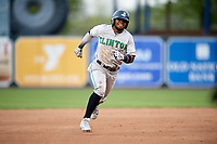 Clinton LumberKings third baseman Luis Rengifo (1) runs the bases during a game against the West Michigan Whitecaps on May 3, 2017 at Fifth Third Ballpark in Comstock Park, Michigan.  West Michigan defeated Clinton 3-2.  (Mike Janes/Four Seam Images)