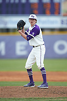 High Point Panthers relief pitcher Brady Pearre (2) looks to his catcher for the sign against the Campbell Camels at Williard Stadium on March 16, 2019 in  Winston-Salem, North Carolina. The Camels defeated the Panthers 13-8. (Brian Westerholt/Four Seam Images)