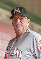 30 August 2015: Miami Marlins first base coach Perry Hill stands in the dugout prior to facing the Washington Nationals at Nationals Park in Washington, DC. The Nationals defeated the Marlins 7-4 in the third game of their 3-game weekend series. Mandatory Credit: Ed Wolfstein Photo *** RAW (NEF) Image File Available ***