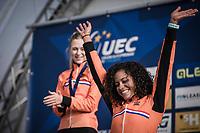 Podium with Women's U23 race winner and European Champion 2018  Ceylin Del Carmen Alvarado (NED) receiving the gold medal. <br /> <br /> <br /> UEC CYCLO-CROSS EUROPEAN CHAMPIONSHIPS 2018<br /> 's-Hertogenbosch – The Netherlands<br /> Women's U23 Race