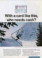 American Express ad with skier, 1966, Ogilvy, Benson & Mather, photograph by John G. Zimmerman.