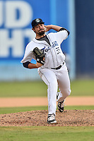 Asheville Tourists pitcher Ben Bowden (35) delivers a pitch during a game against the Rome Braves at McCormick Field on August 21, 2016 in Asheville, North Carolina. The Braves defeated the Tourists 4-2. (Tony Farlow/Four Seam Images)