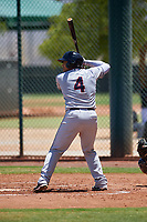 AZL Indians Red Yainer Diaz (4) at bat during an Arizona League game against the AZL Indians Blue on July 7, 2019 at the Cleveland Indians Spring Training Complex in Goodyear, Arizona. The AZL Indians Blue defeated the AZL Indians Red 5-4. (Zachary Lucy/Four Seam Images)