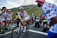 polka dot jersey  Benoit Cosnefroy (FRA/AG2R La Mondiale) up the Col de Peyresourde<br /> <br /> Stage 8 from Cazères-sur-Garonne to Loudenvielle 141km<br /> 107th Tour de France 2020 (2.UWT)<br /> (the 'postponed edition' held in september)<br /> ©kramon