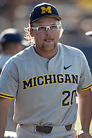 Michigan Wolverines pitcher Willie Weiss (20) before the NCAA baseball tournament against the Connecticut Huskies on June 4, 2021 at Frank Eck Stadium in Notre Dame, Indiana. The Huskies defeated the Wolverines 6-1. (Andrew Woolley/Four Seam Images)