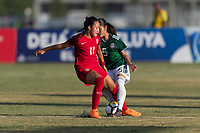 Bradenton, FL - Sunday, June 12, 2018: Maya Doms, Ximena Rios during a U-17 Women's Championship Finals match between USA and Mexico at IMG Academy.  USA defeated Mexico 3-2 to win the championship.