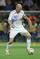 French captain (10) Zinedine Zidane runs upfield. Italy defeated France on penalty kicks after leaving the score tied, 1-1, in regulation time in the FIFA World Cup final match at Olympic Stadium in Berlin, Germany, July 9, 2006.