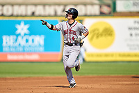 Quad Cities River Bandits Michael Massey (4) rounds the bases after hitting a home run during a game against the South Bend Cubs on August 20, 2021 at Four Winds Field in South Bend, Indiana.  (Mike Janes/Four Seam Images)