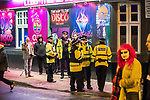 """© Joel Goodman - 07973 332324 . 15/12/2017. Manchester, UK. Several police officers respond to an incident at Club Tropicana in the city's Gay Village . Revellers out in Manchester City Centre overnight during """" Mad Friday """" , named for historically being one of the busiest nights of the year for the emergency services in the UK . Photo credit : Joel Goodman"""