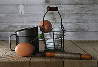 Farmhouse Eggs in rustic setting<br /> Photo By Adam Scull/PHOTOlink.net