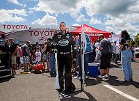 May 31, 2014; Englishtown, NJ, USA; A life size cardboard cutout of NHRA top fuel driver Shawn Langdon on display during qualifying for the Summernationals at Raceway Park. Mandatory Credit: Mark J. Rebilas-