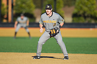 Missouri Tigers first baseman Kendall Keeton (3) on defense against the Wake Forest Demon Deacons at Wake Forest Baseball Park on February 22, 2014 in Winston-Salem, North Carolina.  The Demon Deacons defeated the Tigers 1-0.  (Brian Westerholt/Four Seam Images)